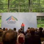 Bundeskanzlerin Merkel bei Ihrer Abschlussrede in der Elmau