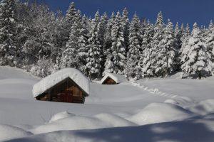 Die Stadel versinken im Schnee